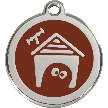 Red Dingo Stainless Steel Enameled Engraved ID Tag - Dog House - Medium - Pick a Color