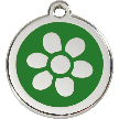Red Dingo Stainless Steel Enameled Engraved ID Tag - Flower - Small - Pick a Color