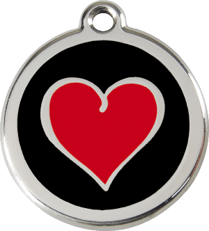 Red Dingo Stainless Steel Enameled Engraved ID Tag - Heart Black - Small - Red and Black