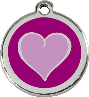 Red Dingo Stainless Steel Enameled Engraved ID Tag - Heart Purple - Large - Purple