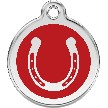 Red Dingo Stainless Steel Enameled Engraved ID Tag - Horseshoe - Medium - Pick a Color