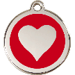 Red Dingo Stainless Steel Enameled Engraved ID Tag - Heart - Medium - Pick a Color