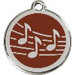 Red Dingo Stainless Steel Enameled Engraved ID Tag - Music - Large - Pick a Color
