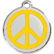 Red Dingo Stainless Steel Enameled Engraved ID Tag - Peace Sign - Medium - Pick a Color