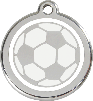 Red Dingo Stainless Steel Enameled Engraved ID Tag - Soccer Ball - Large - White