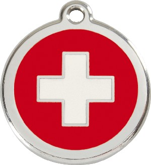 Red Dingo Stainless Steel Enameled Engraved ID Tag - Flag Swiss Cross - Large - Red White