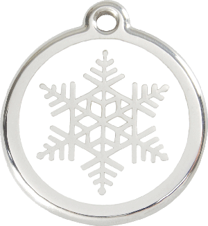 Red Dingo Stainless Steel Enameled Engraved ID Tag - Snow Flake - Small - White