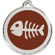Red Dingo Stainless Steel Enameled Engraved ID Tag - Fishbone - Small - Pick a Color
