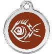 Red Dingo Stainless Steel Enameled Engraved ID Tag - Tribal Fish - Small - Pick a Color