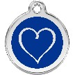 Red Dingo Stainless Steel Enameled Engraved ID Tag - Tribal Heart  - Large - Pick a Color