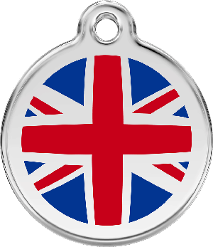 Red Dingo Stainless Steel Enameled Engraved ID Tag - Flag United Kingdom - Medium - Red White Blue