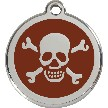 Red Dingo Stainless Steel Enameled Engraved ID Tag - Skull and Crossed Bones - Medium - Pick a Color