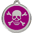 Red Dingo Stainless Steel Enameled Engraved ID Tag - Skull and Crossed Bones - Large - Pick a Color