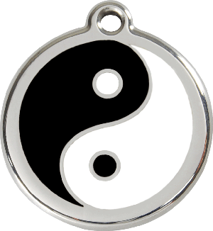 Red Dingo Stainless Steel Enameled Engraved ID Tag - Ying Yang - Small - White and Black