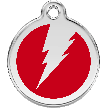 Red Dingo Stainless Steel Enameled Engraved ID Tag - Flash - Medium - Pick a Color