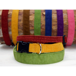 "Good Dog Hemp/Corduroy Dog Collar 3/4"" - Medium - Pick a Color"