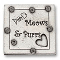 Pewter Meows and Purrs Magnet