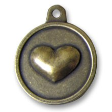 Hotdogs Heart ID Tag with Engraving - Brass or Silver - Large